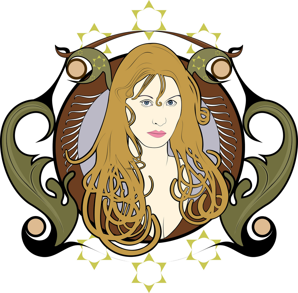 Coralie Clement in Mucha style