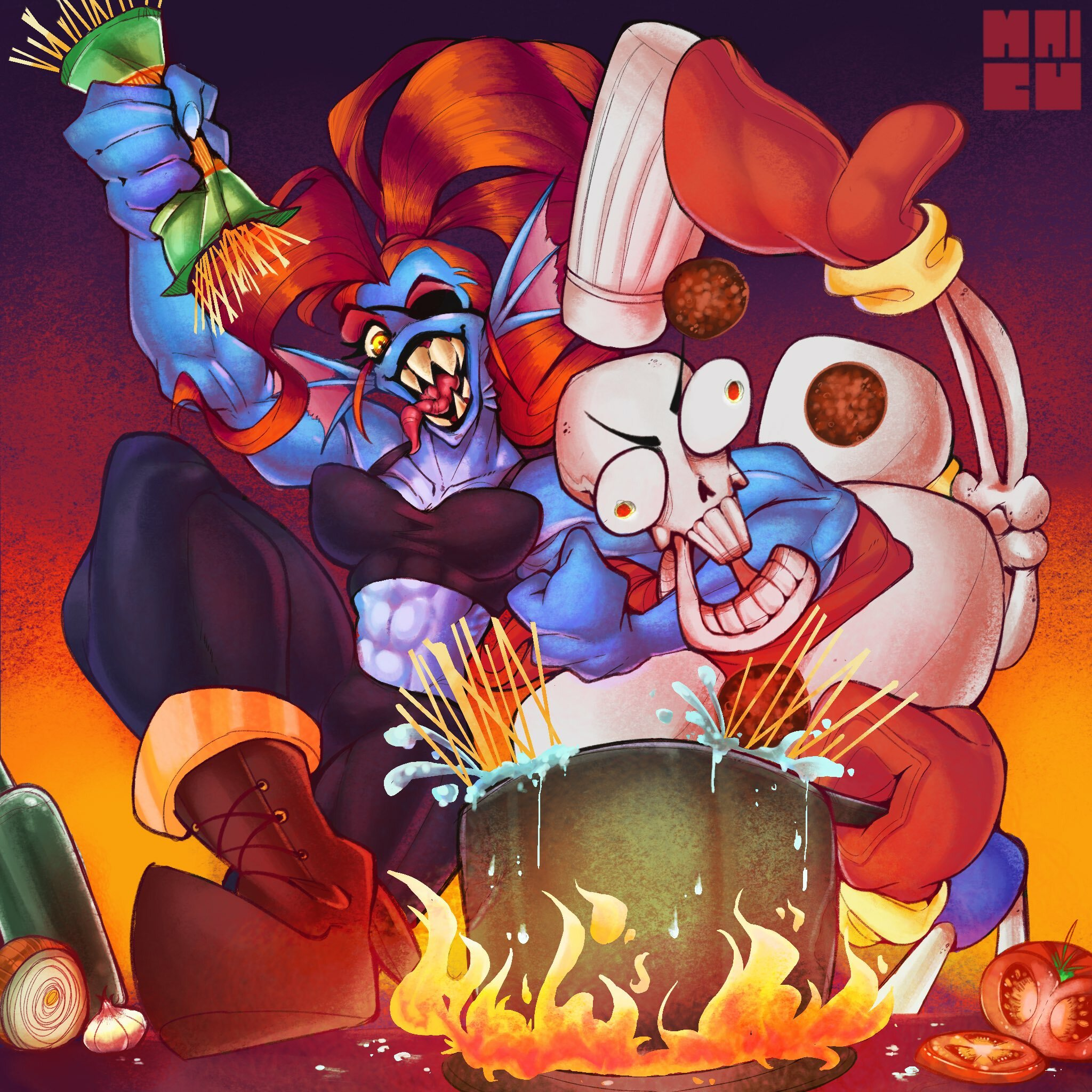 Undyne and Papyrus