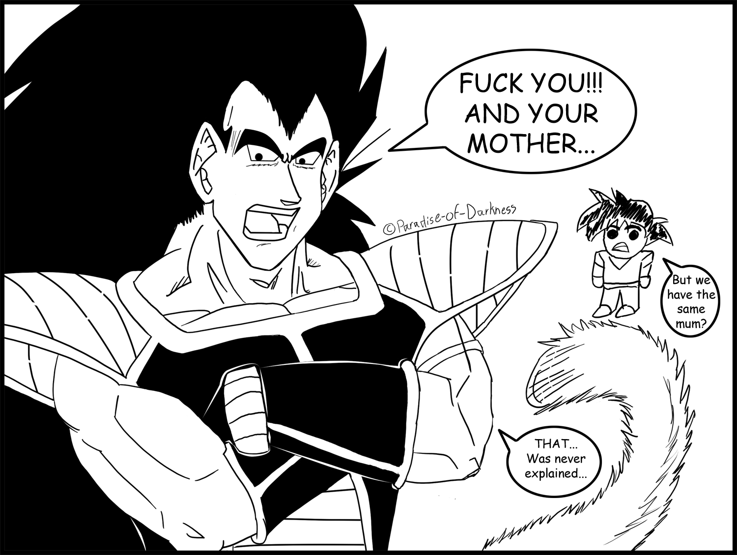 Raditz mouthing off at goku