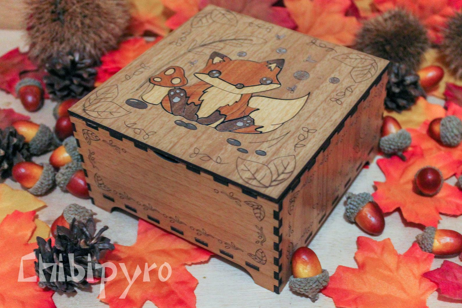 cute Fox wooden box with marquetry