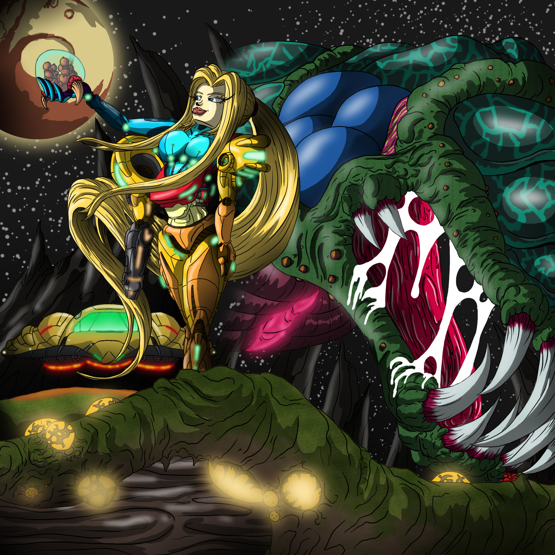 Samus with baby Metroid and Mother