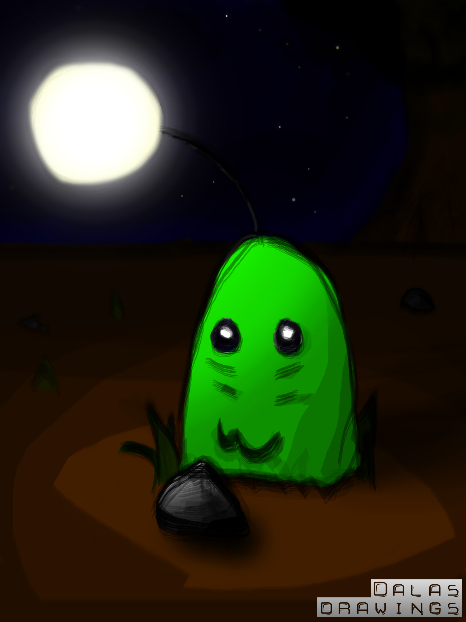 "The Green ""Lit"" Cute Monster"