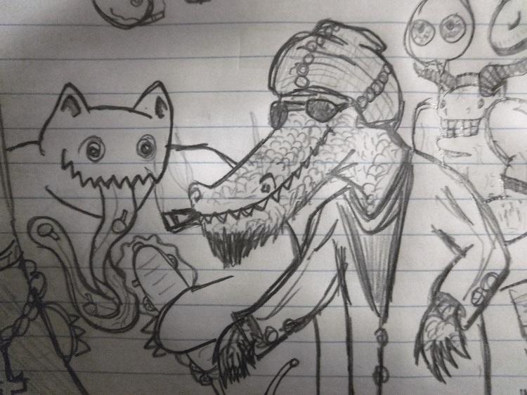 my friends, alligator and yeti