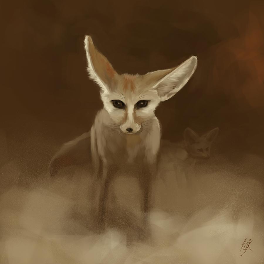 Fennec Fox in a Sandstorm