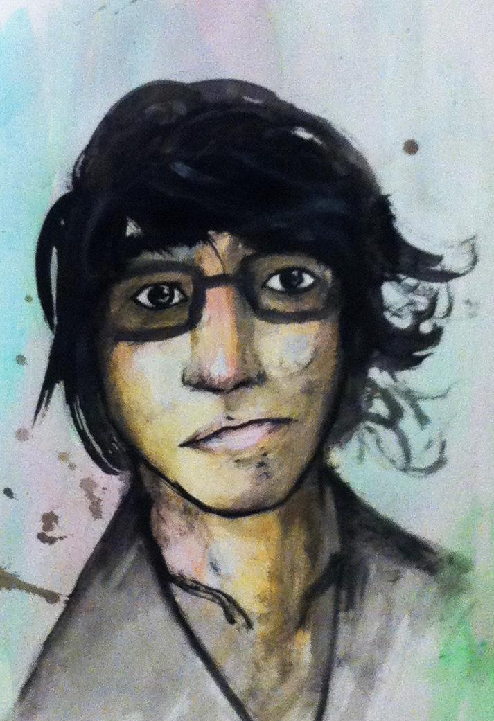 Self-portrait with watercolour