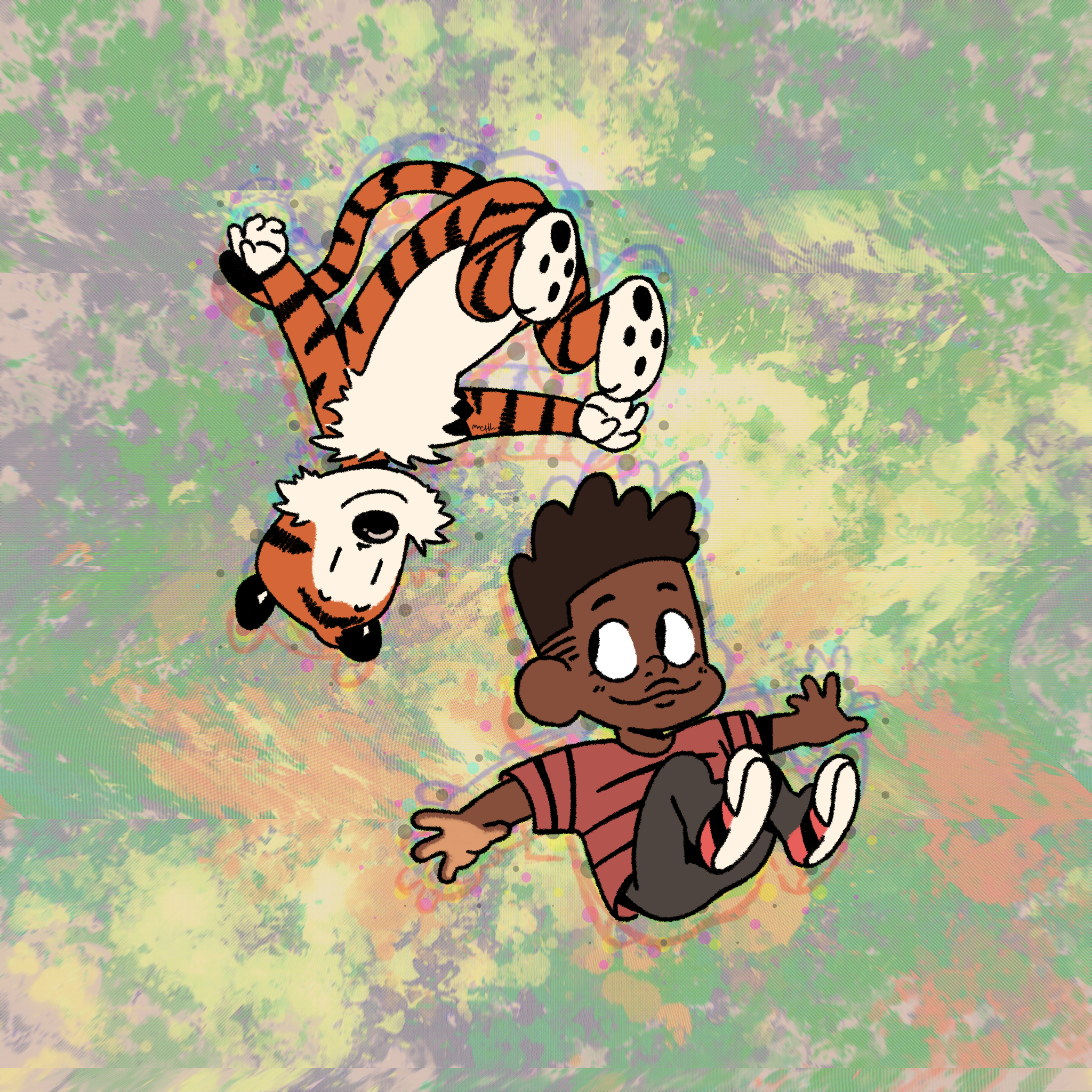 Calvin and Hobbes (made for blacktober 2020)