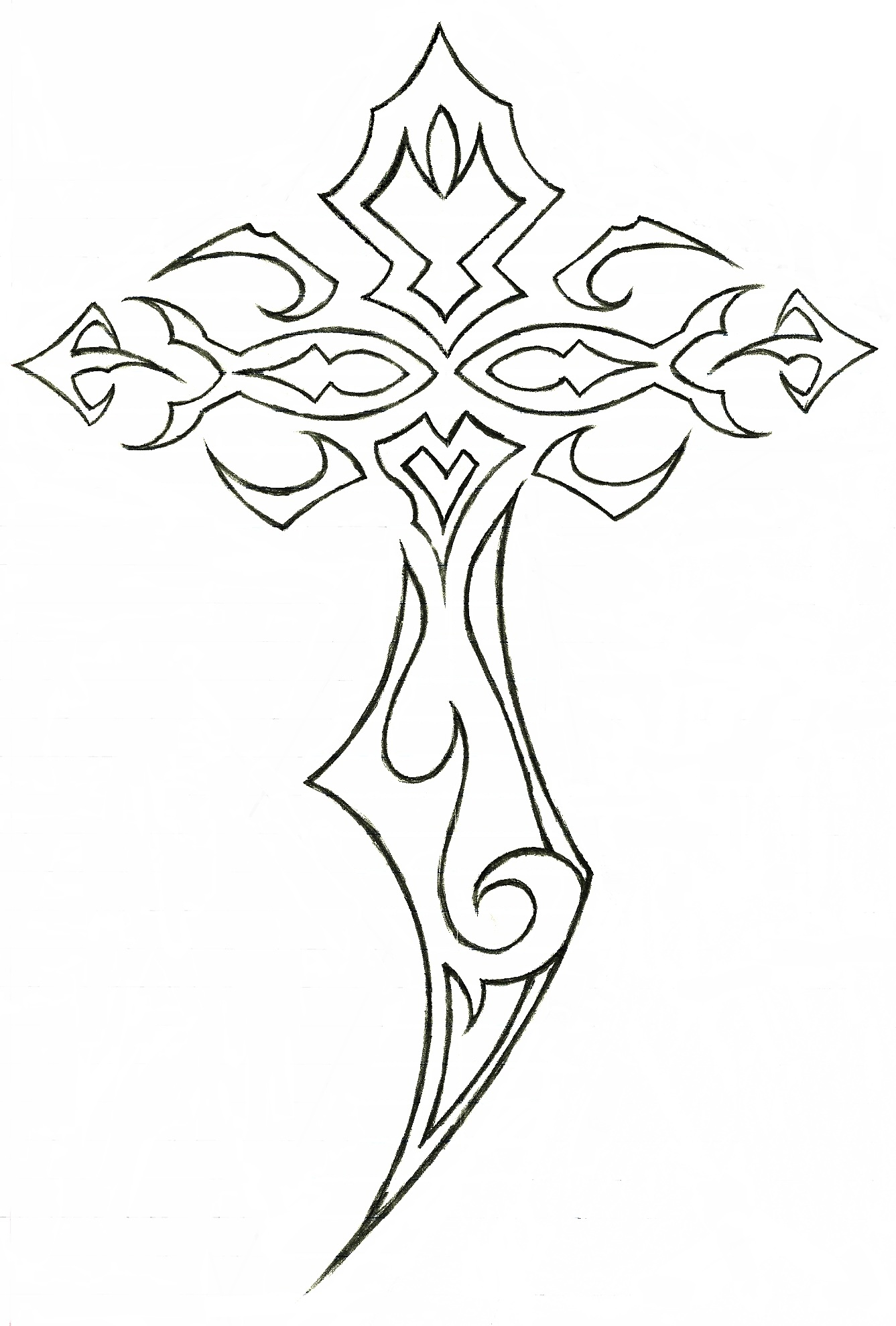 It's just a graphic of Clean Tribal Cross Drawing