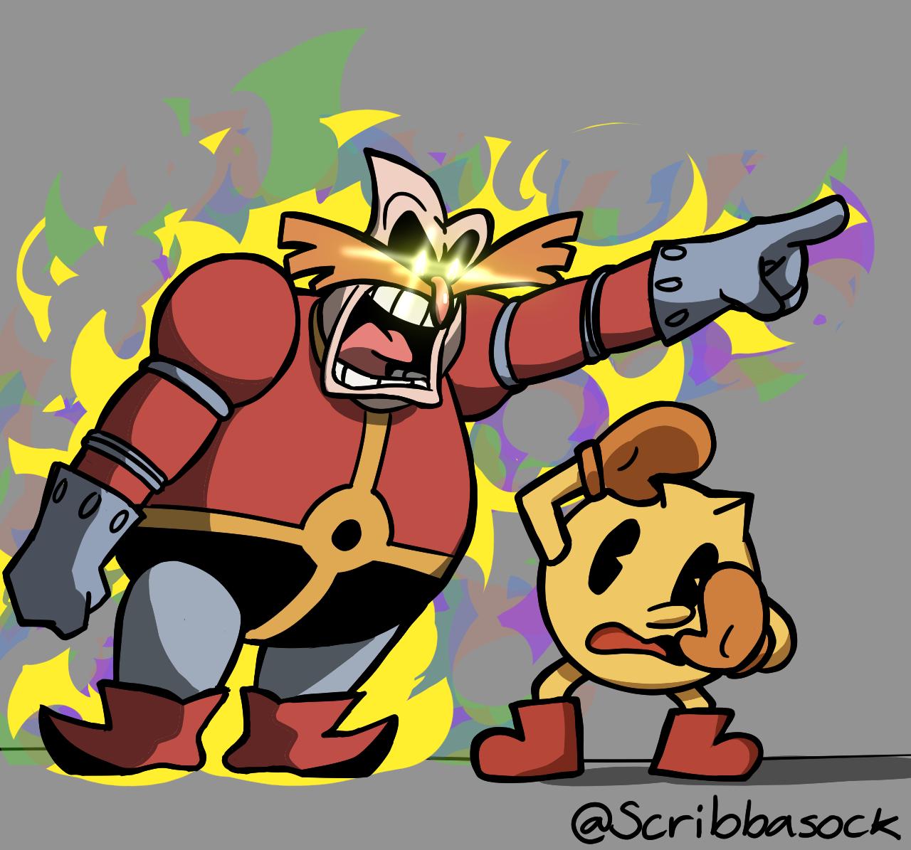 Robotnik yelling at Pac-Man