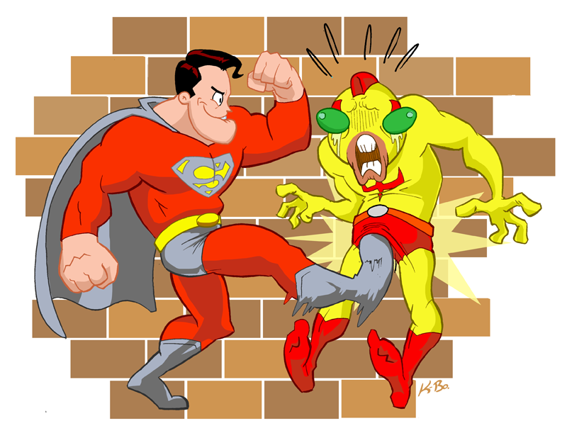 P2 Superman Kicks Your Nuts