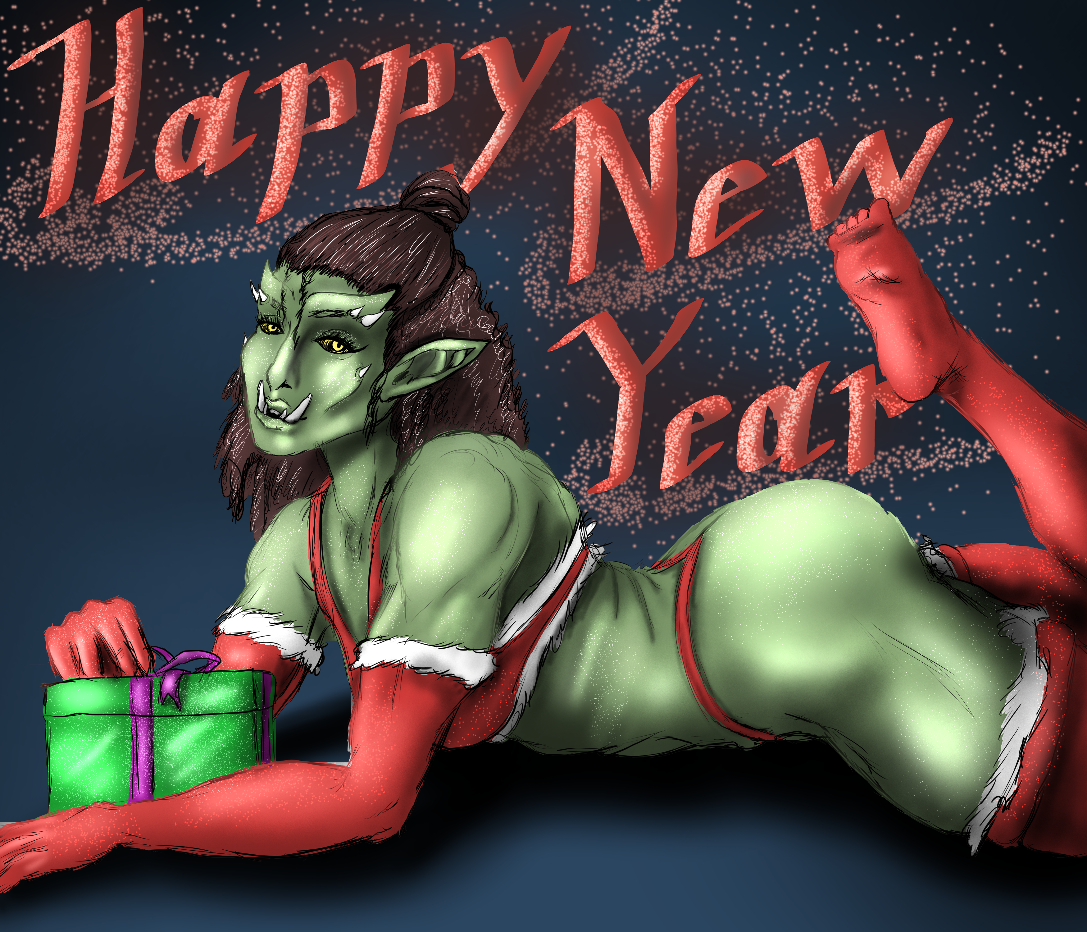 Happy New Year Orc Pinup