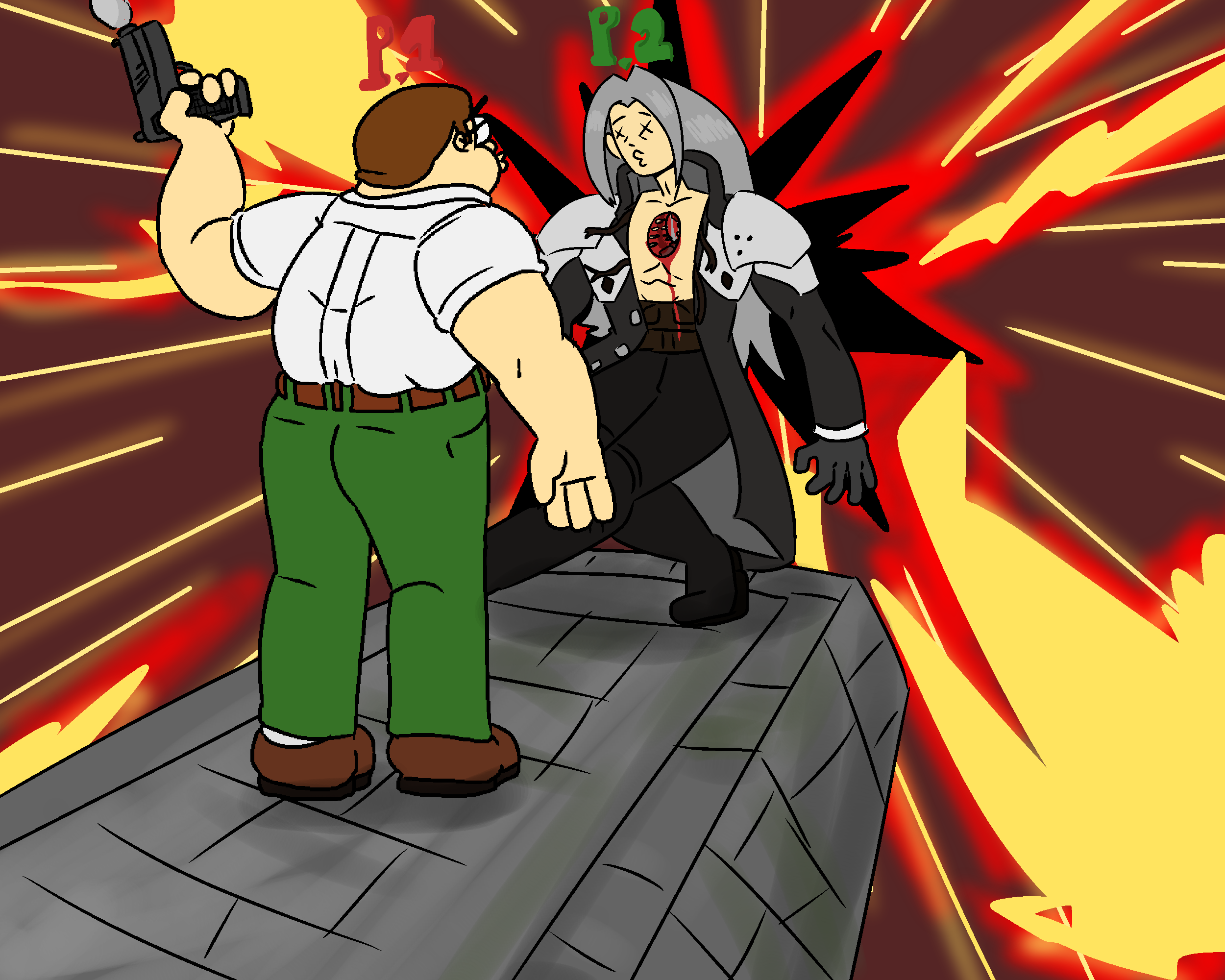 Art Raffle Prize: Peter Griffin Kills Sephiroth in Smash