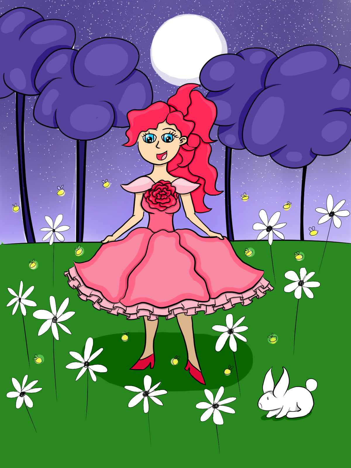 Rose dress in the grassfield