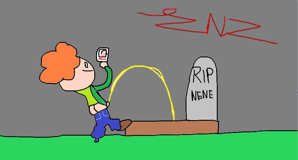 Pico pisses on Nene's grave