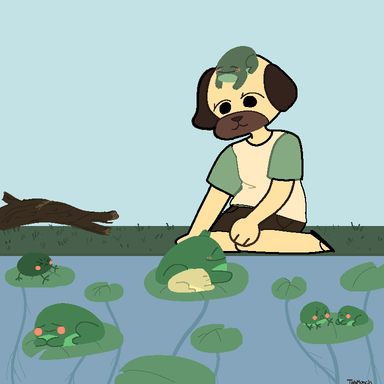 Tacopug with the frogs