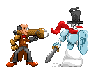 Mr. Scrooge and Snowman