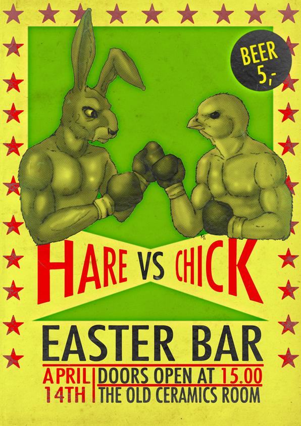 Hare vs chick easter bar