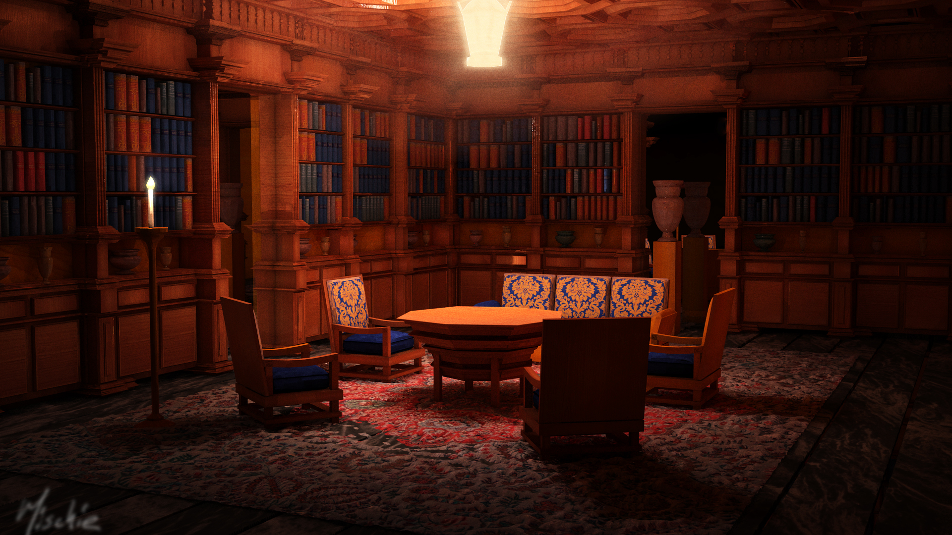 Hearst Castle Library By Night