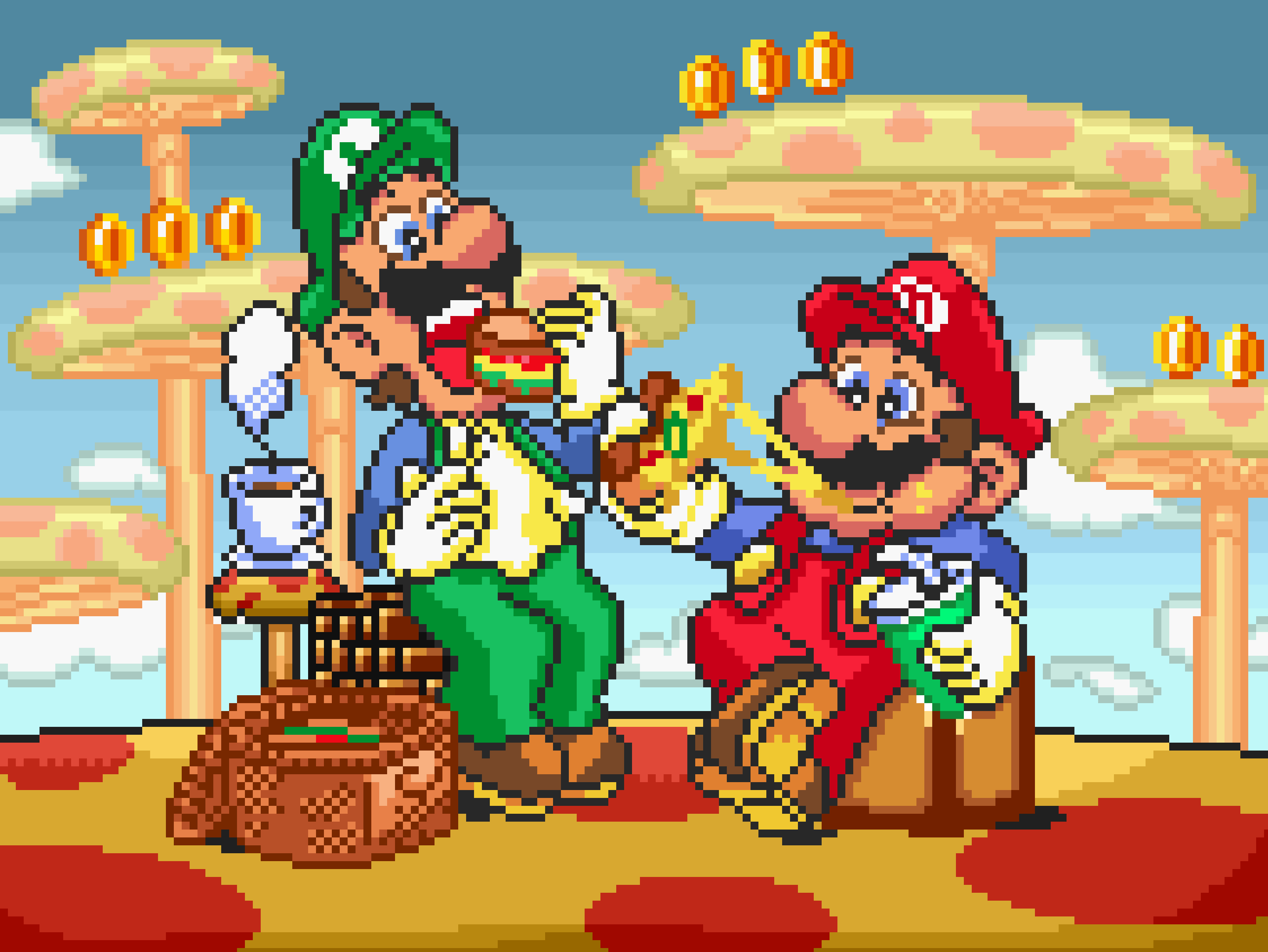 Mario and Luigi having lunch on the SNES