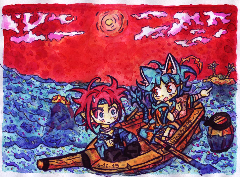 Ferma and Krui hunting for Treasure at sea!