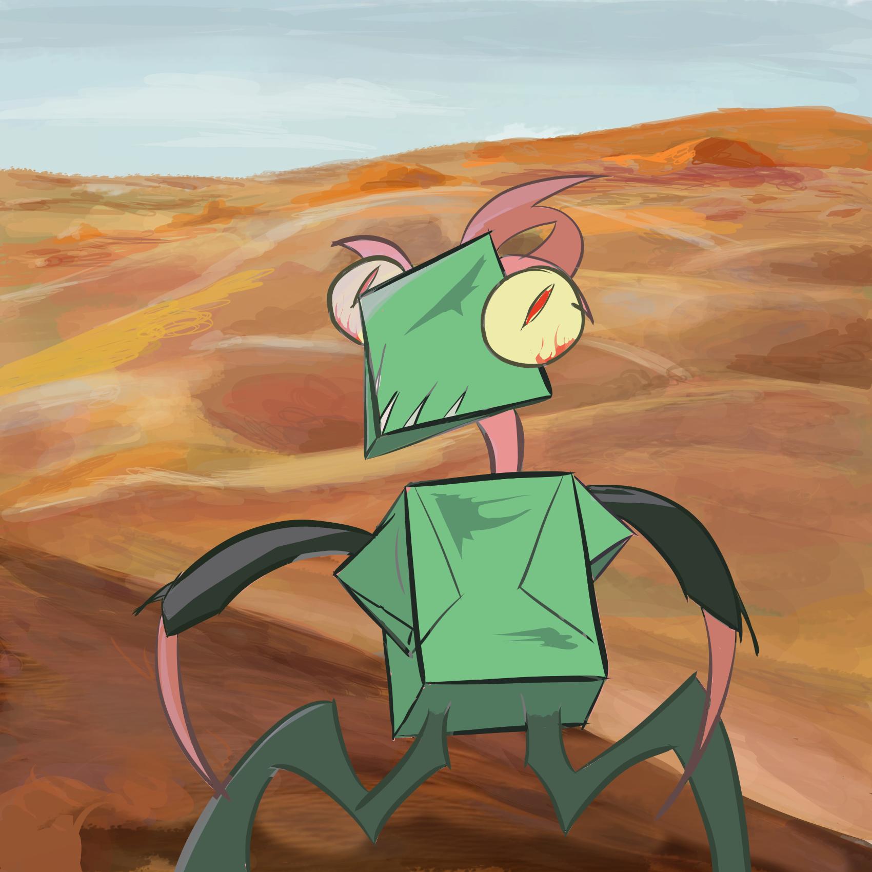 Grasshopper monster in the desert