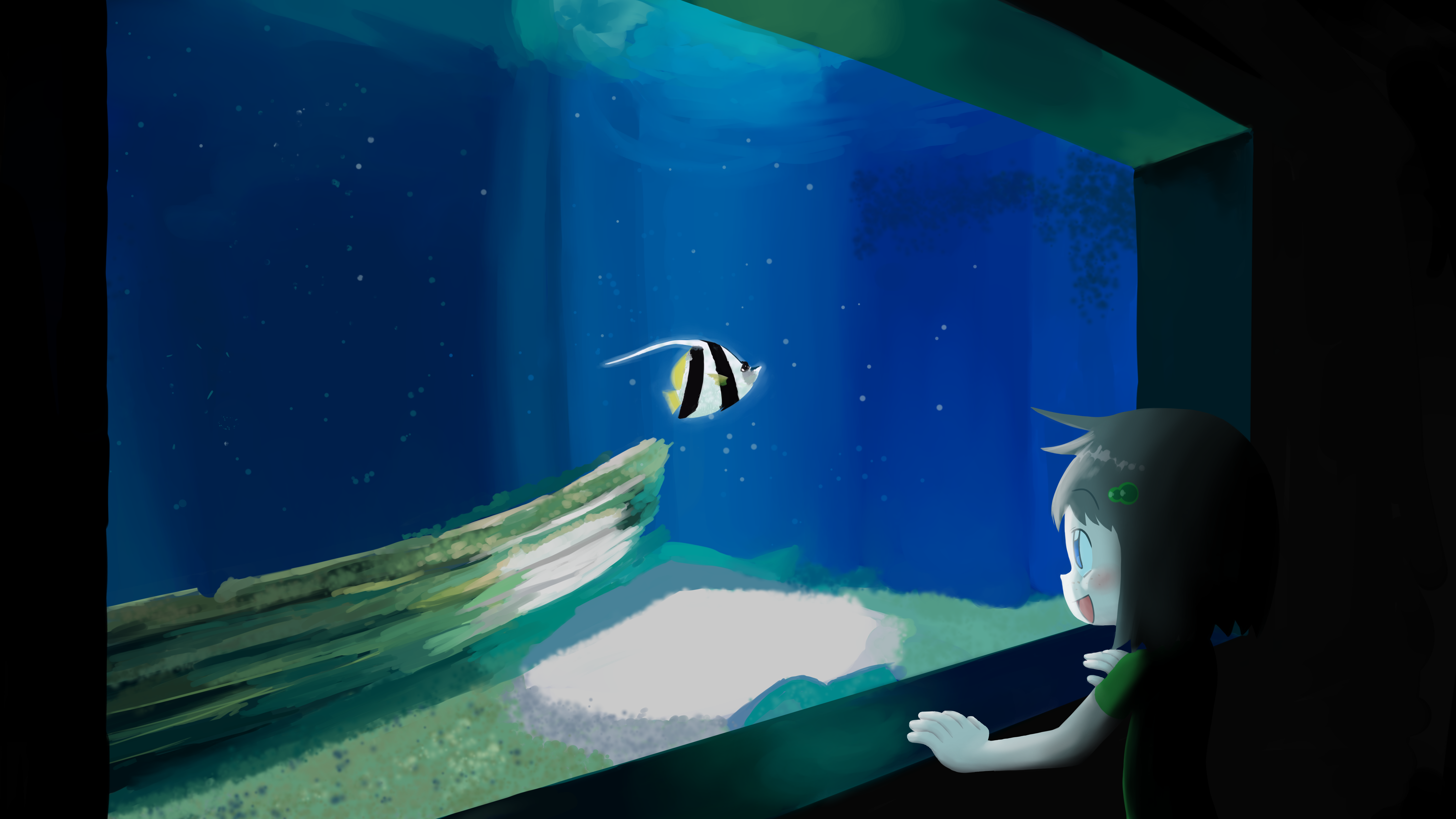 Lily lookin' at a fish an an aquarium and going all wowwww