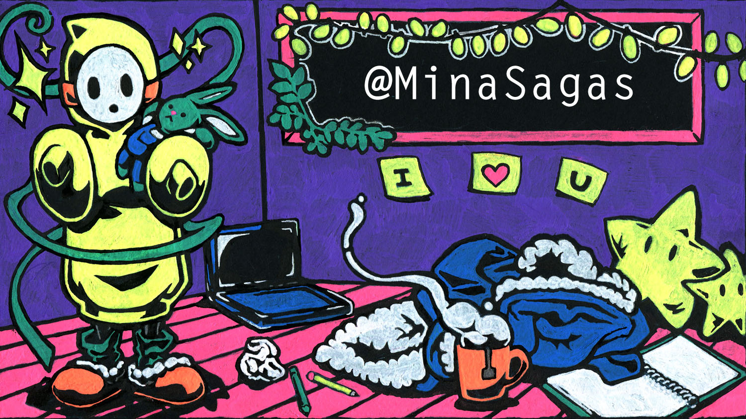 MinaSagas' banner (9 in x 5 in)