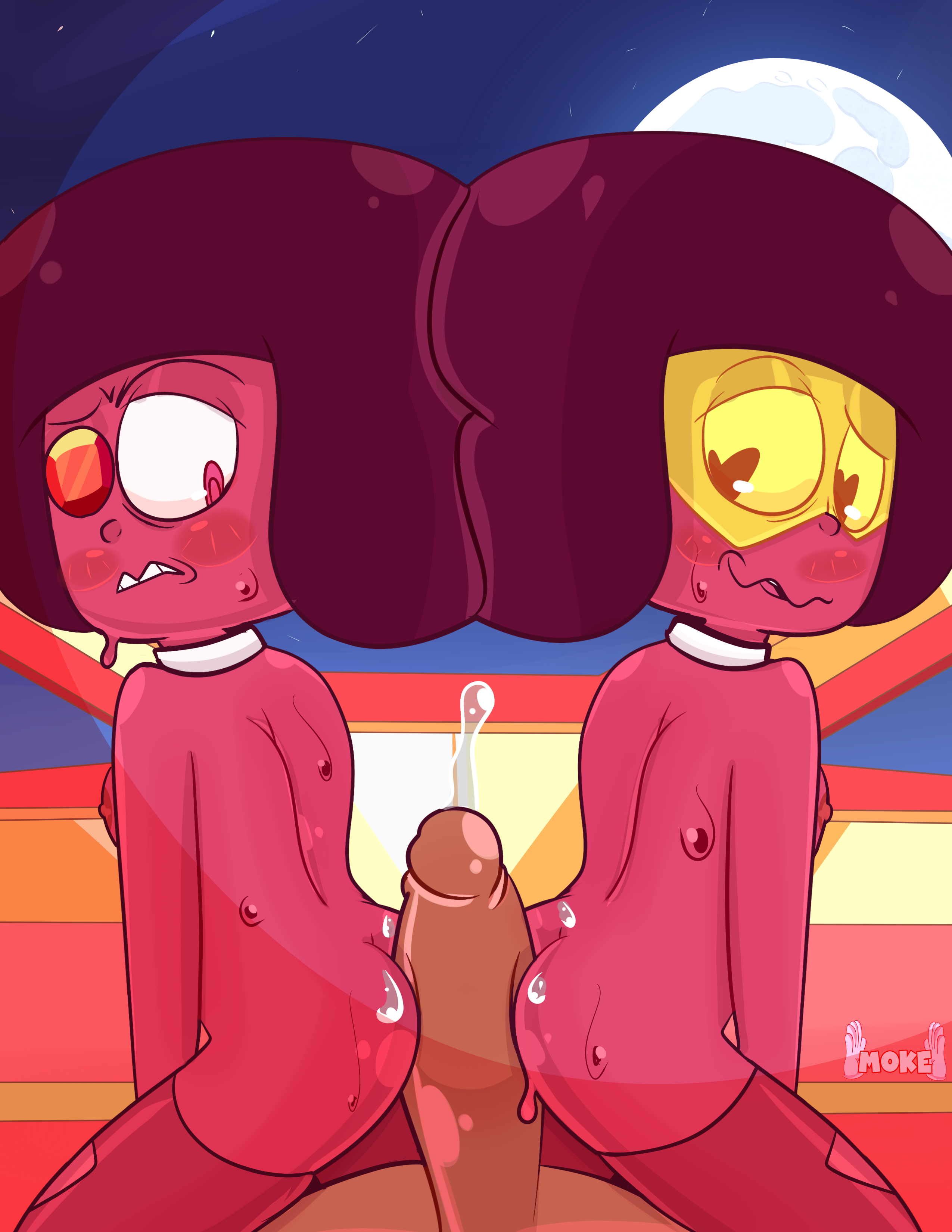 Double Ruby buttjob commission