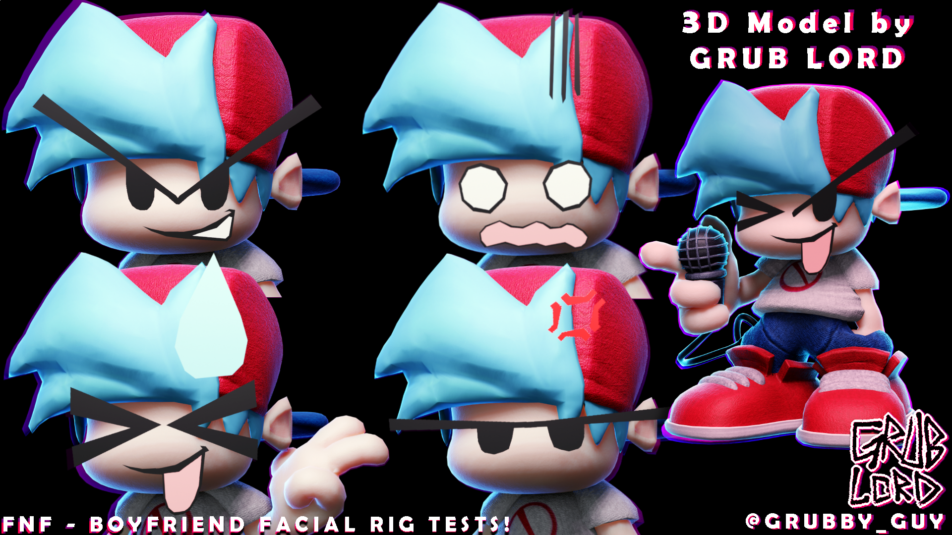 FNF - BOYFRIEND 3D FACERIG TESTS!
