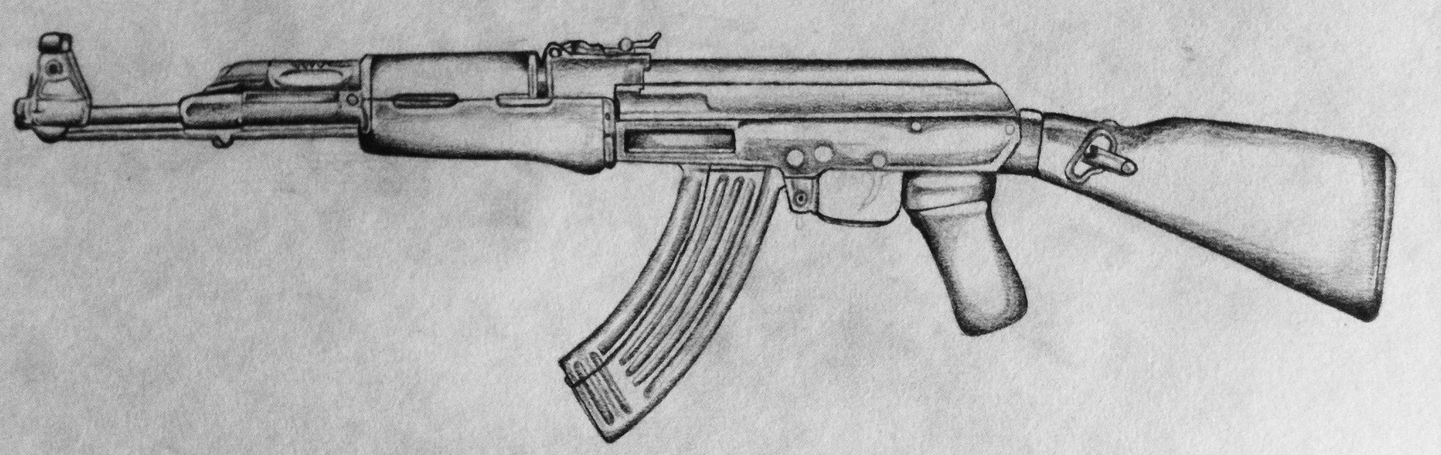 It's just an image of Crafty Drawing Of Ak 47