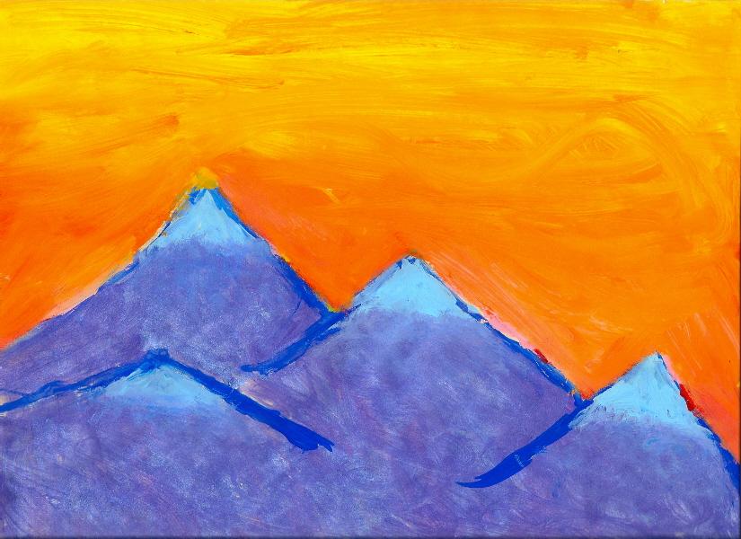 Mountain Range in the Sunset