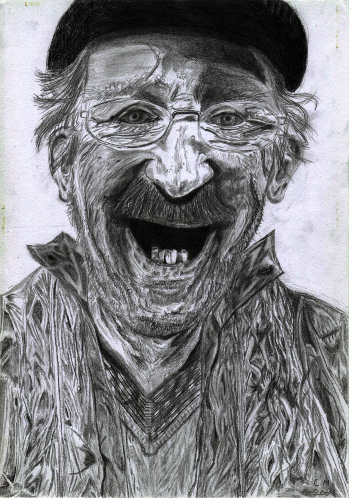 Pencil drawing of old dude