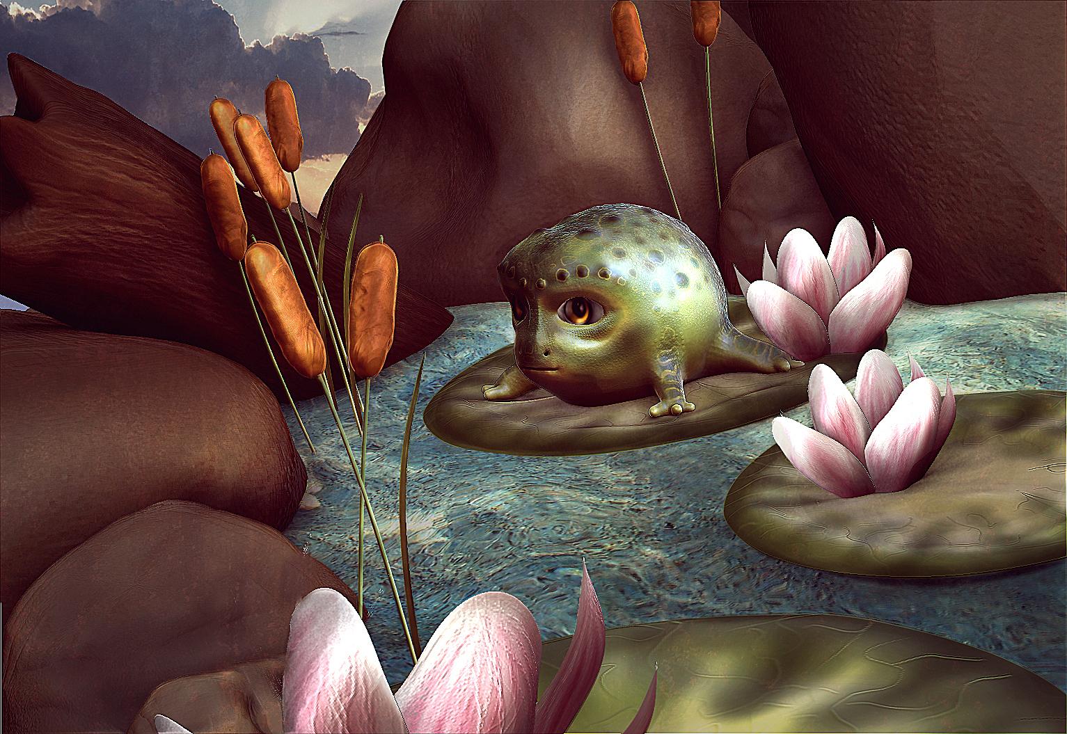 3D Baby frog alien character