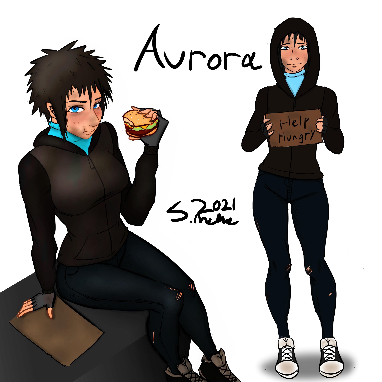Aurora eating a burger (Finished)