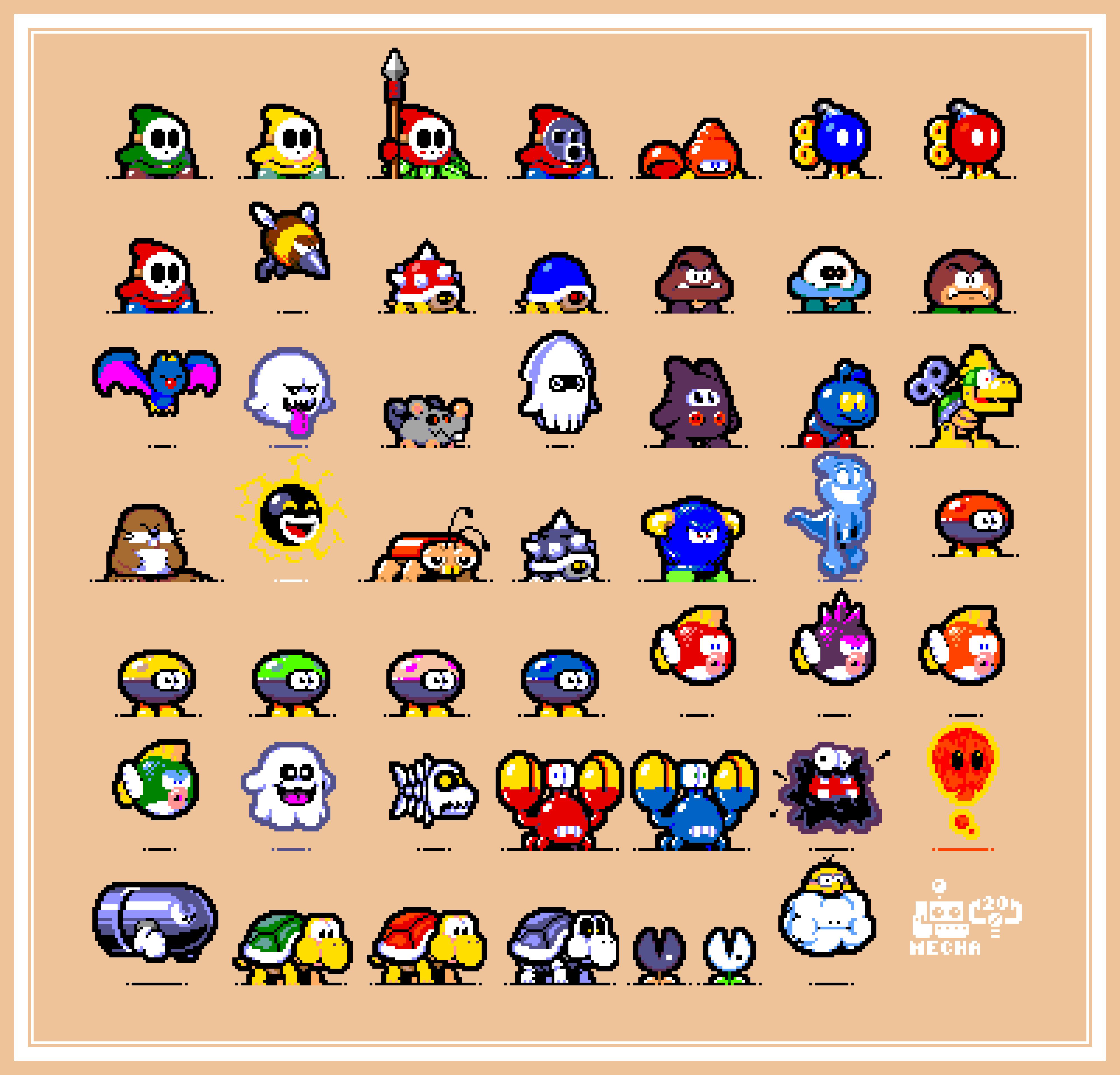 Retro Gameboy Color Mario ennemies