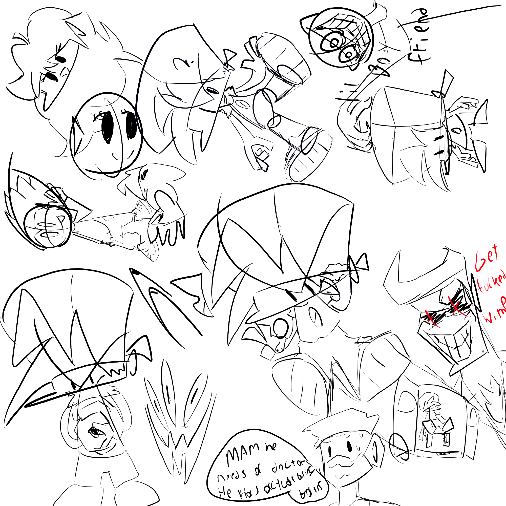 Some fnf sketches i drew