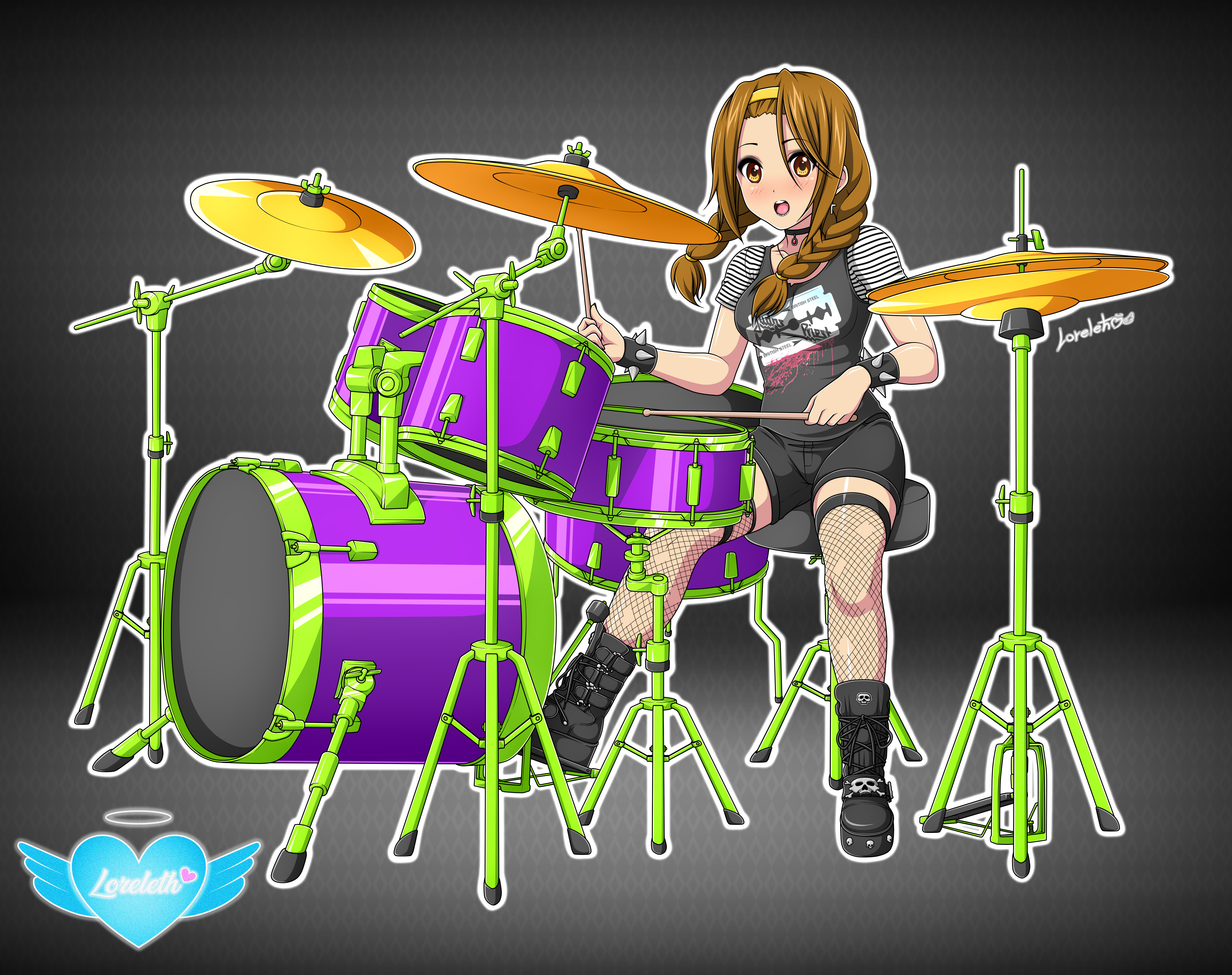 Ritsu Tainaka On Drums / K-ON V3 (Commission)