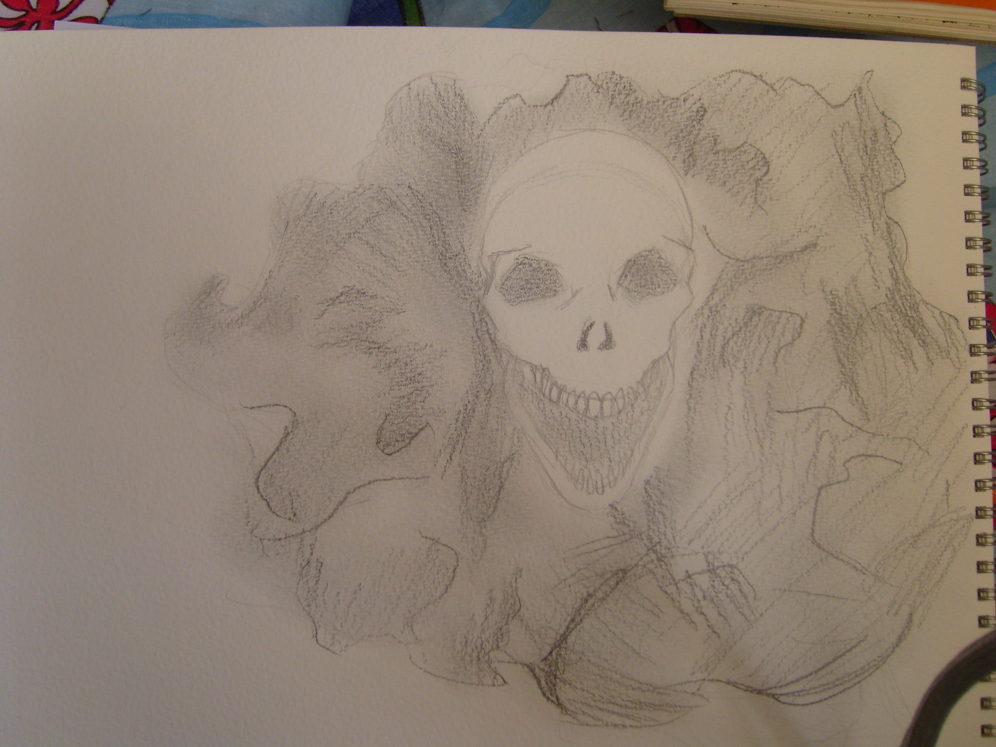Floating smoke skull