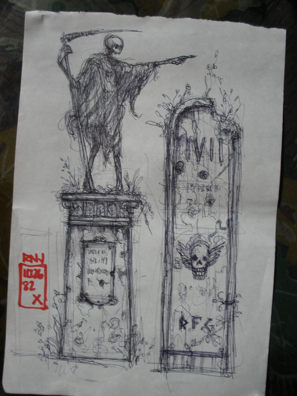 grave stone concept art