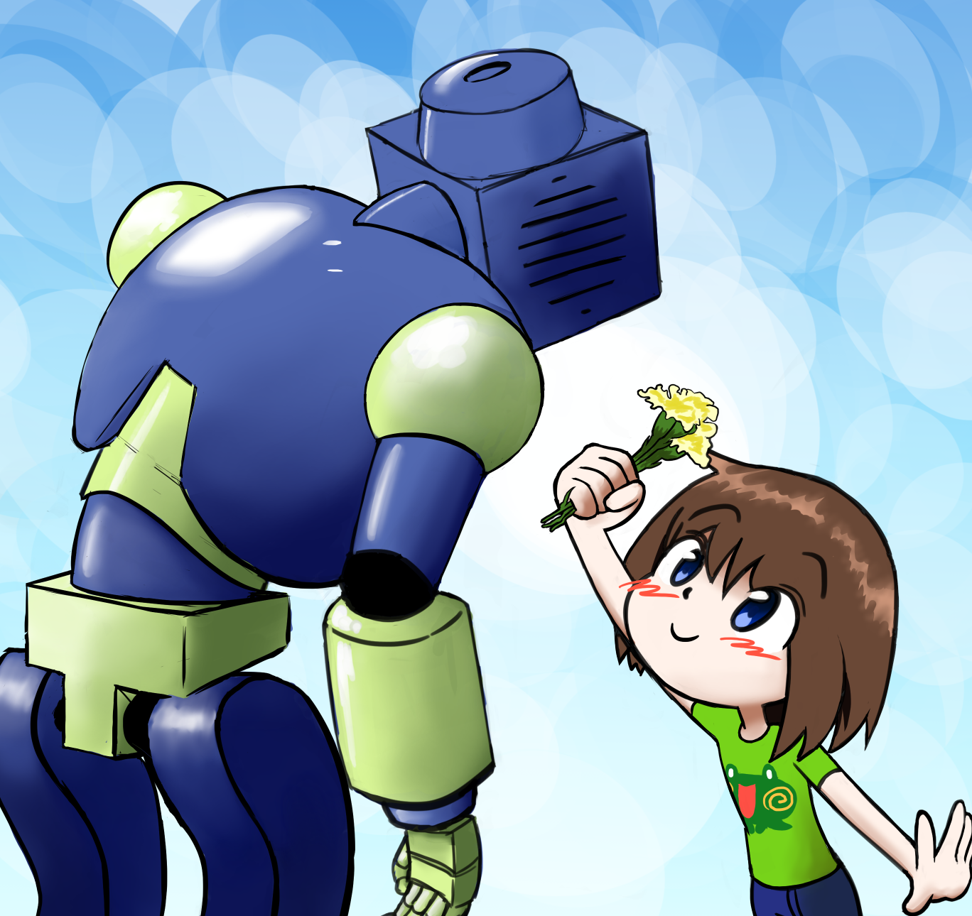 Lily makes friends with a robot