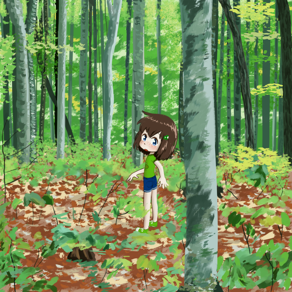 lily hangin' with the birch trees