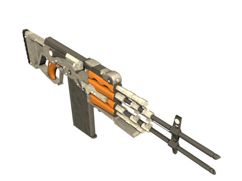Modified AK47, double-barreled