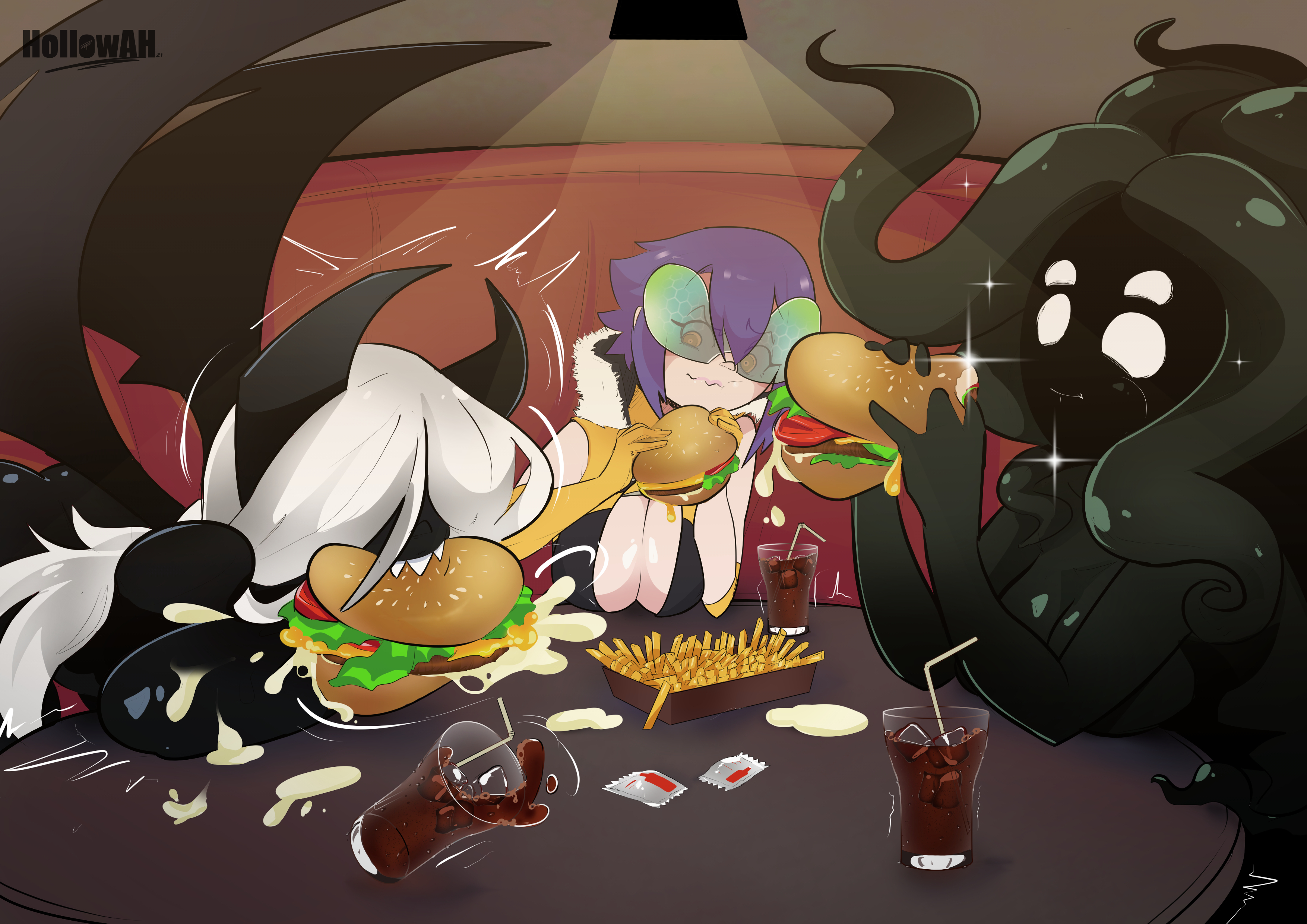 bee eating burger - commision