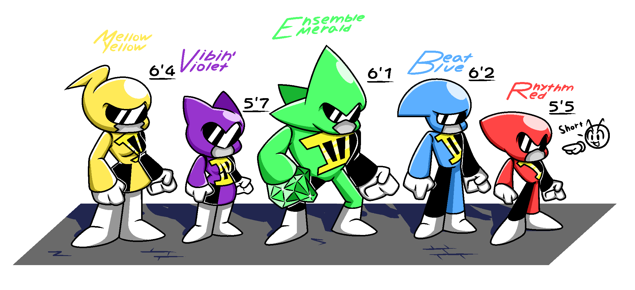 Size chart for the Rhythmazers