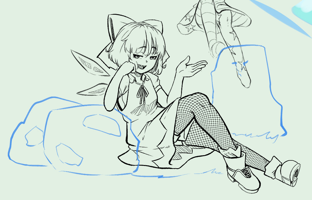 Cirno with fishnets - sketch