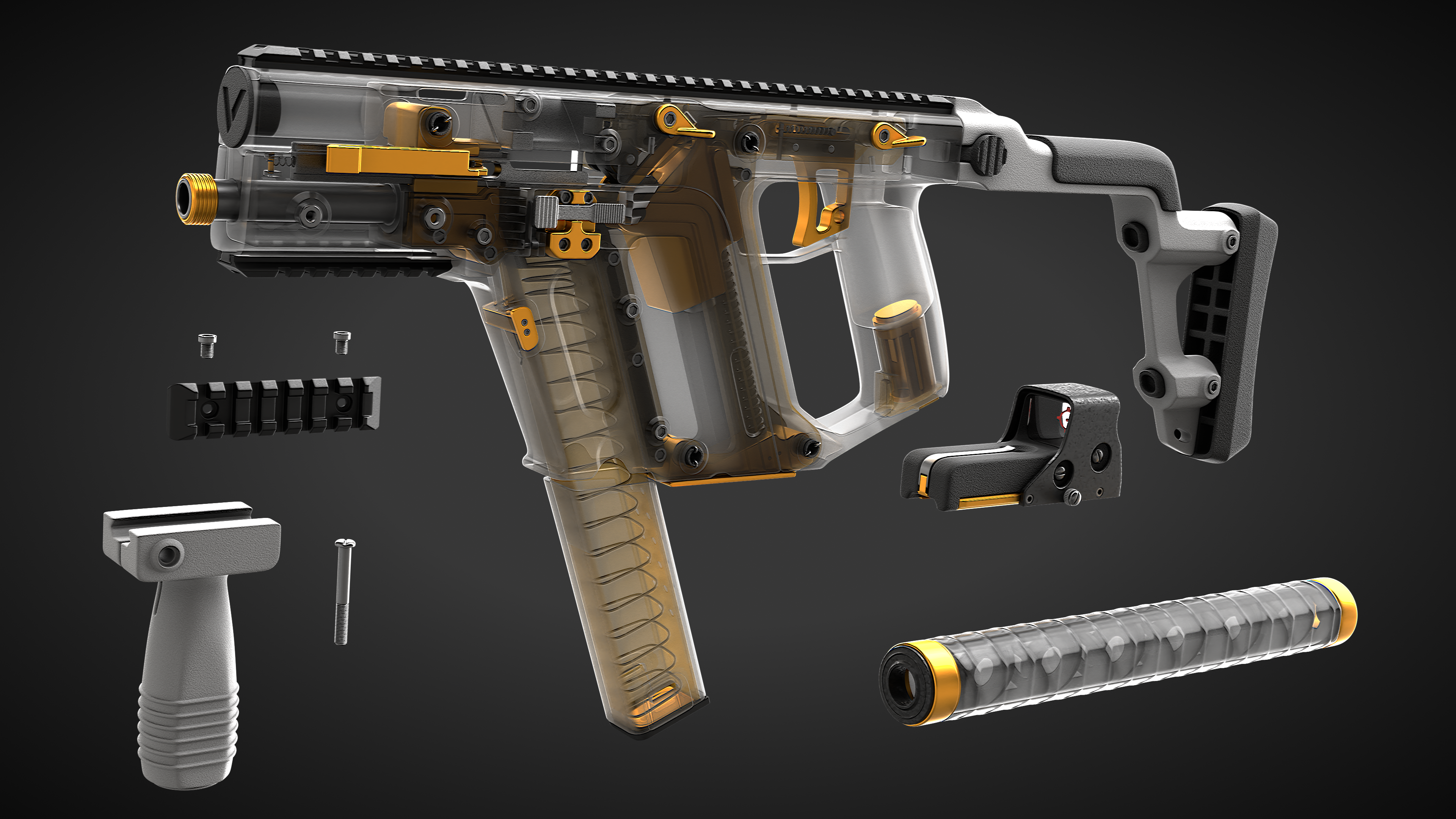 Kriss Vector - High Poly with full internals