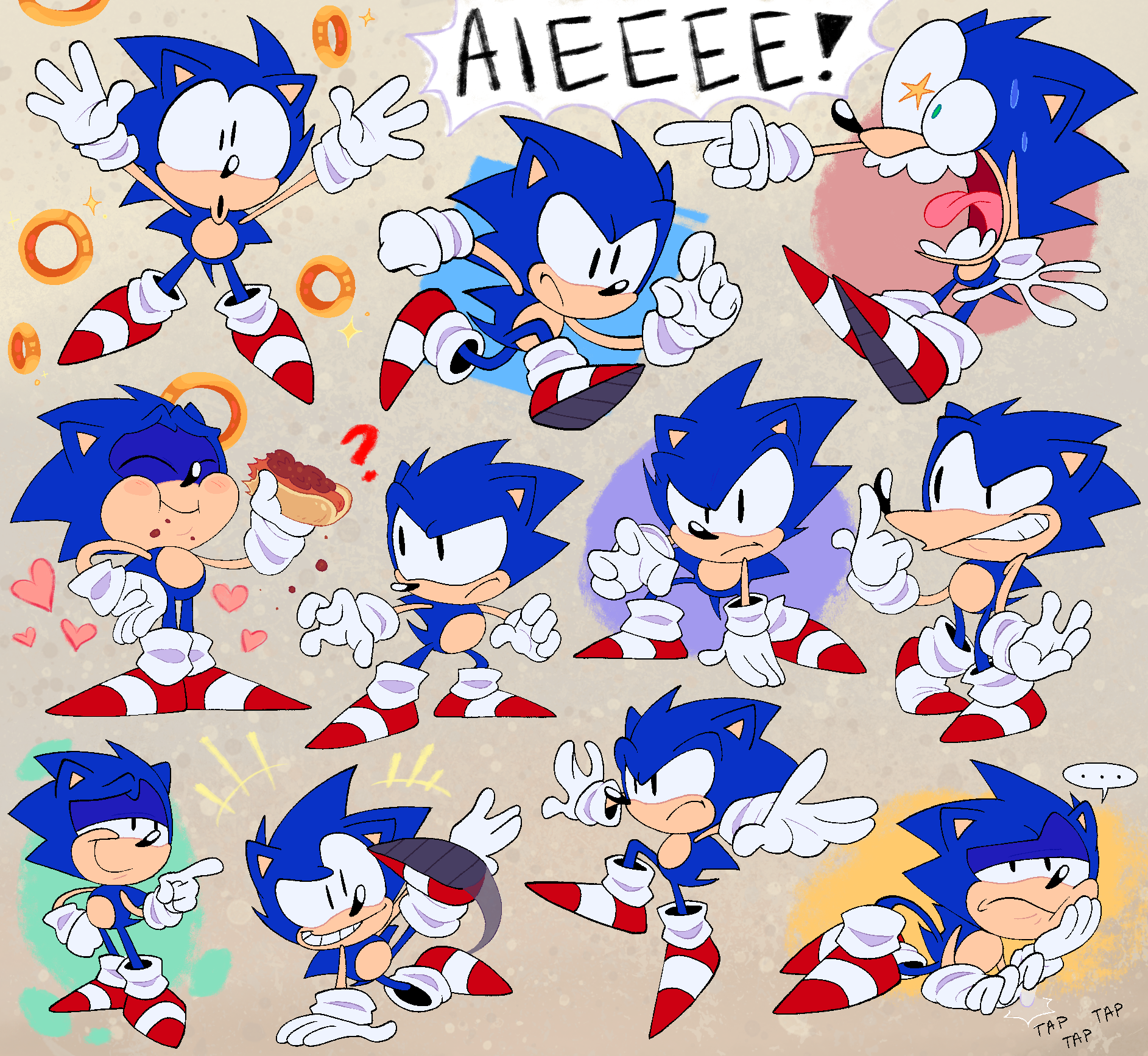 Drawings of a particular blue hedgehog