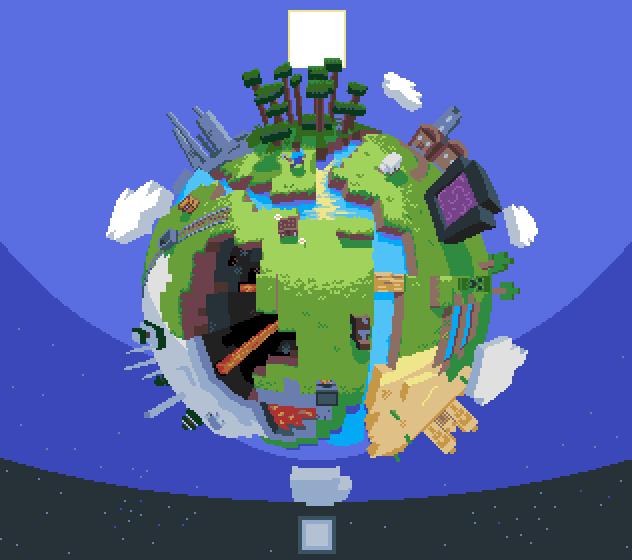 Minecraft pixel globe