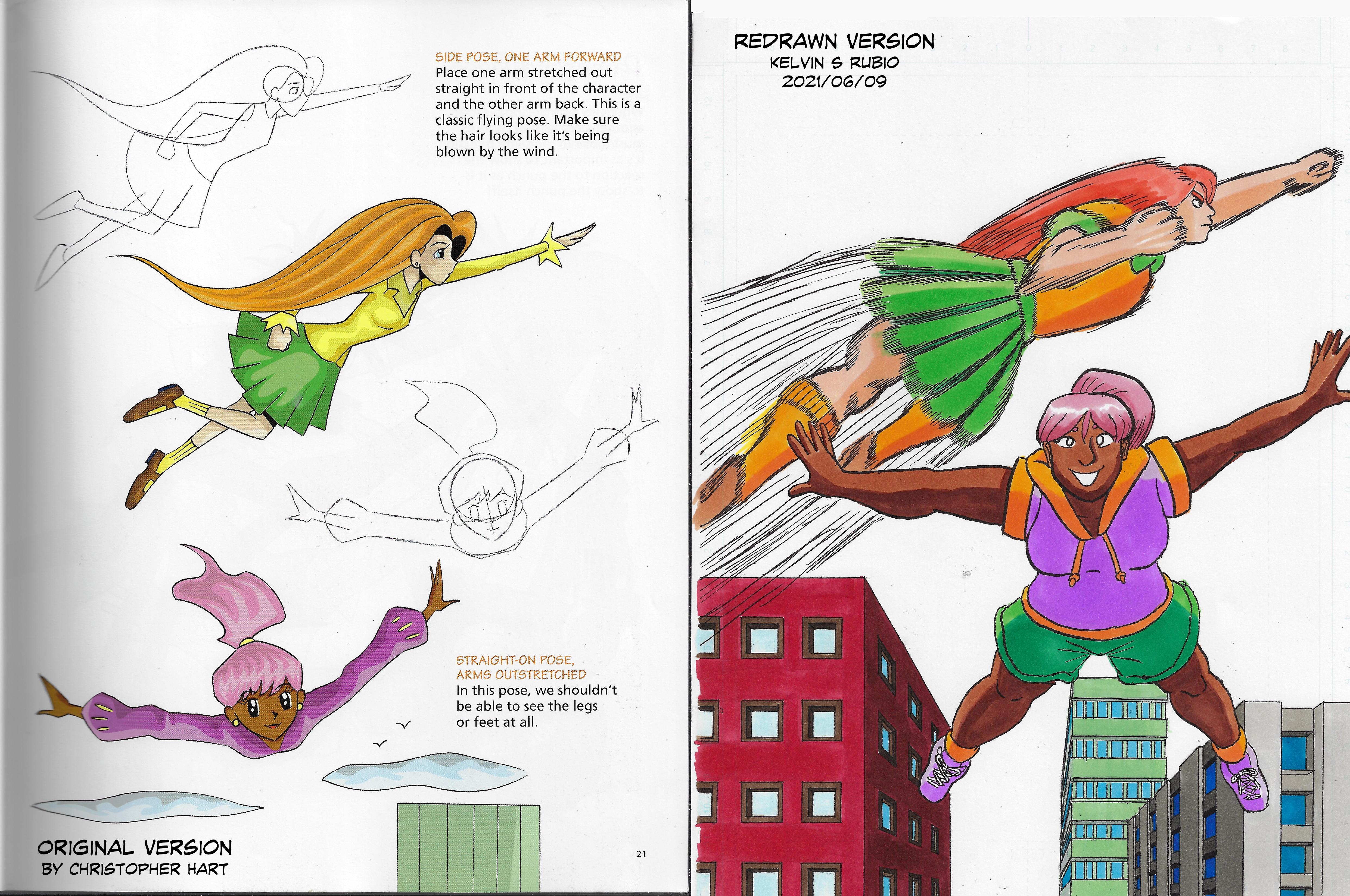 Kids Draw Manga Flying Poses 2 Redraw
