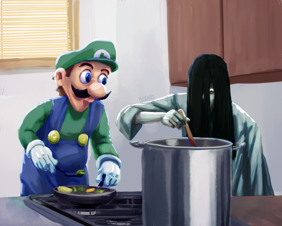 Luigi and Sadako Cook Dinner