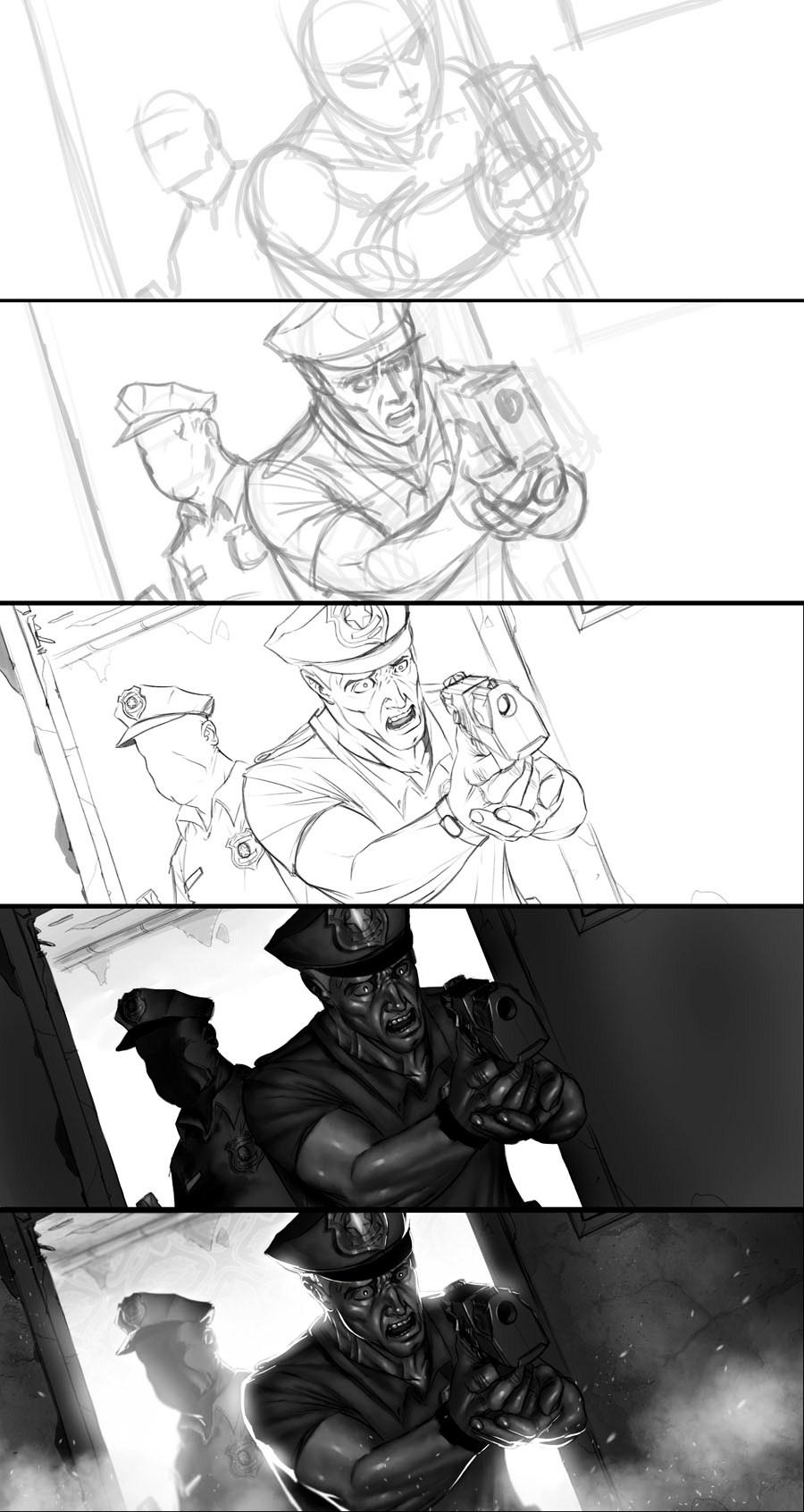 Policeman, step by step